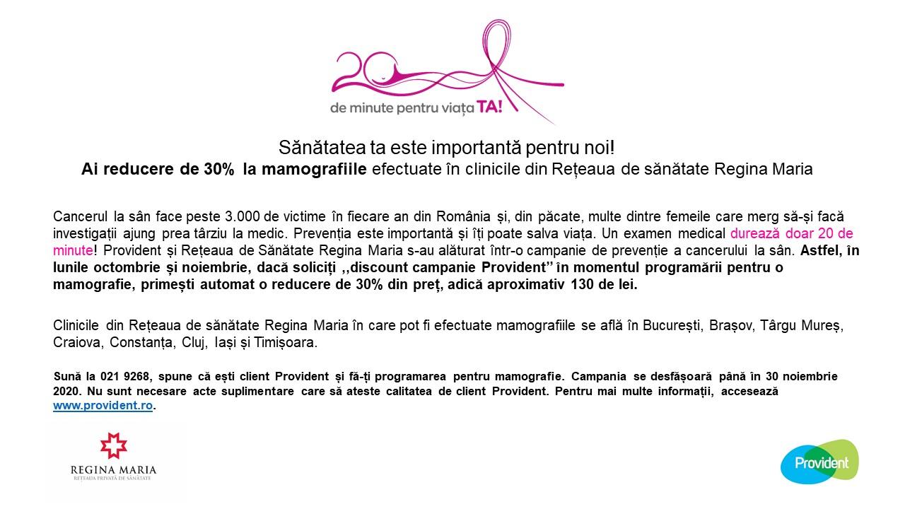 20 de minute pentru viața TA! Campanie de prevenție a cancerului la sân